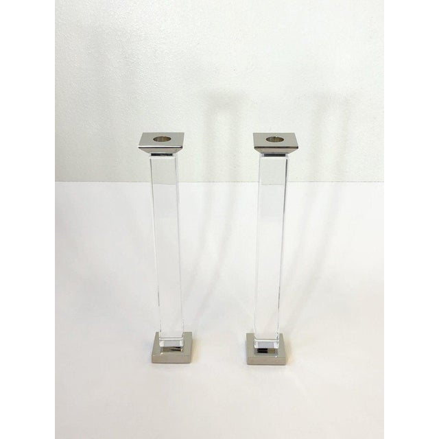 1980s Pair of Lucite and Polish Nickel Candlestick by Charles Hollis Jones For Sale - Image 5 of 7