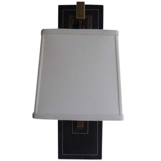 Paul Marra Black Leather Back Sconce with Tapered Linen Shade For Sale