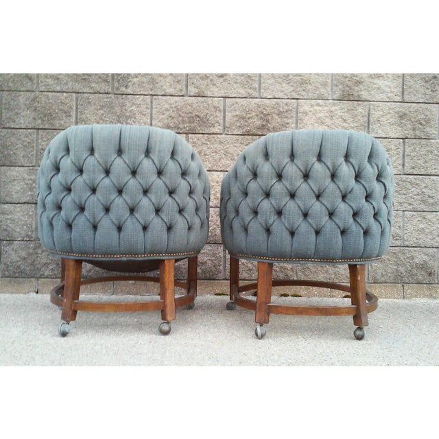 Blue Tufted Barrel Club Chairs - A Pair - Image 6 of 7