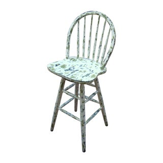 Country Cottage Hand Painted Distressed Bar Stool For Sale