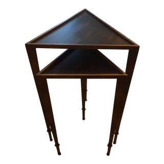Aged Bronze Finish Triangular Nesting Tables - a Pair