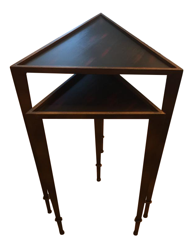 Aged Bronze Finish Triangular Nesting Tables   A Pair For Sale