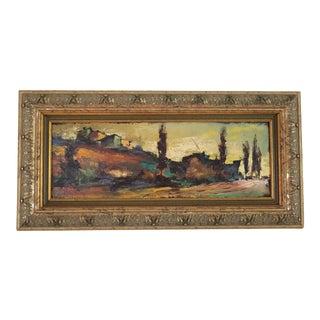 Vintage Lapitani Italian Tuscan Landscape Oil Painting For Sale