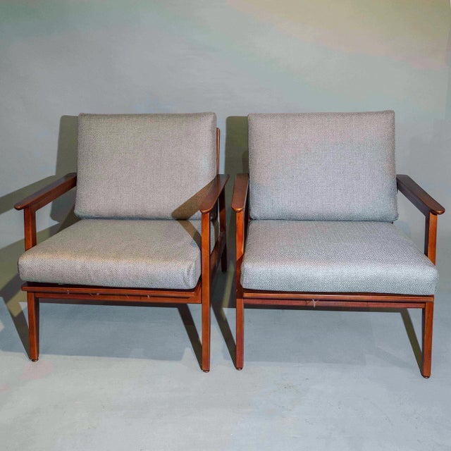 Mid-Century Modern Vintage Mid Century Lounge Arm Chairs - a Pair For Sale - Image 3 of 7