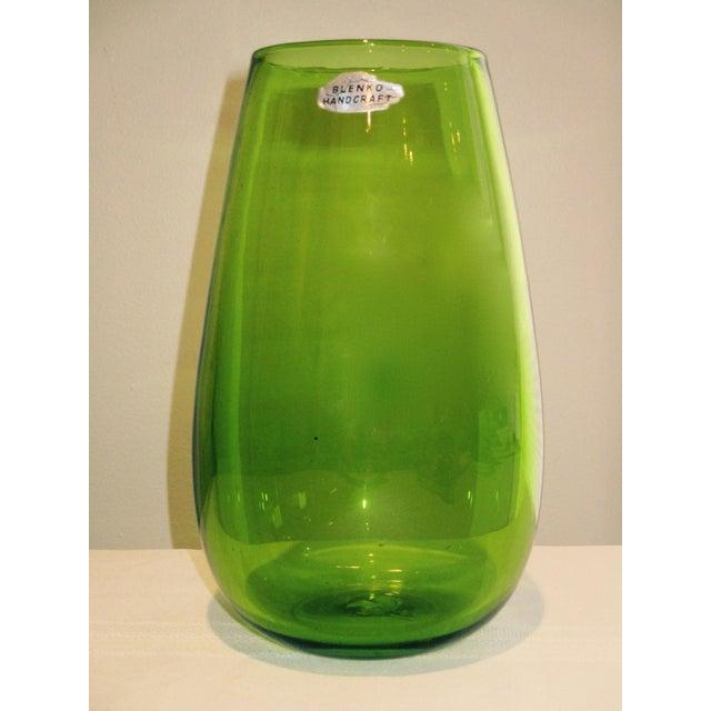 Blenko Green Art Glass Vase - Image 2 of 10