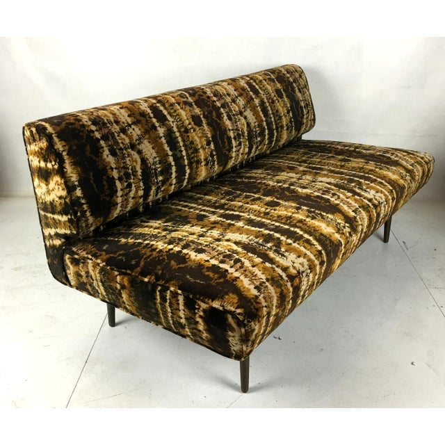 1950s Sofa or Bench With Brass Legs by Edward Wormley for Dunbar-Larsen Velvet For Sale - Image 5 of 8