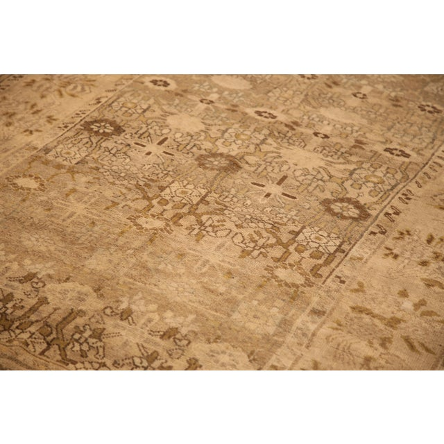 Contemporary Antique Persian Bijar Rug With Brown & Beige Floral Details- 4′10″ × 8′3″ For Sale - Image 3 of 5