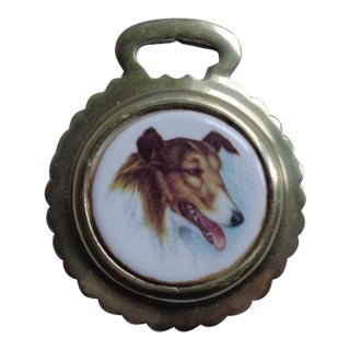 Vintage English Collie Dog Horse Brass Bridle Decoration