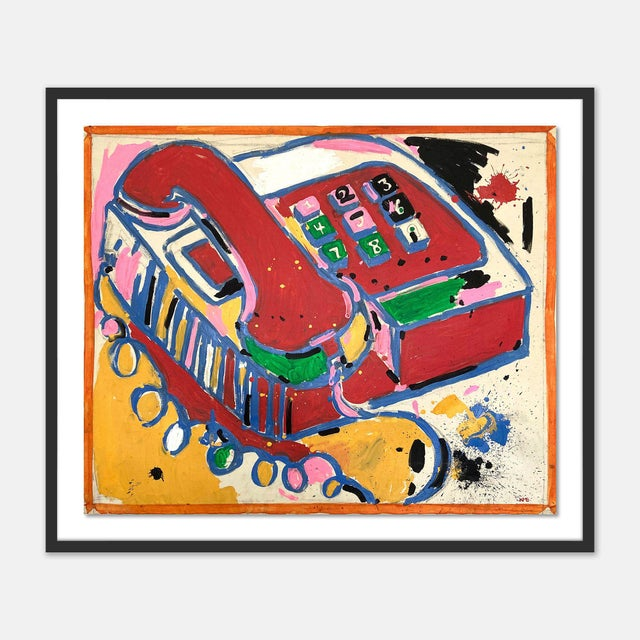 Contemporary Telephone by Jelly Chen in Black Framed Paper, Large Art Print For Sale - Image 3 of 3