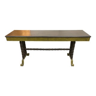Late 20th Century Green + Black Low Console Table For Sale