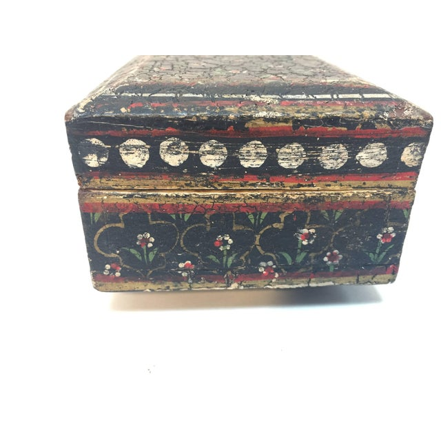 Mid 20th Century Rajhastani Hand-Painted Decorative Footed Tea Box For Sale - Image 5 of 10