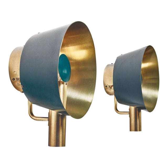 Pair of Brass Lyfa Wall Lamps, Denmark, 1960s For Sale