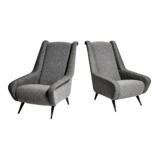 Mid-Century Modern French Wool Upholstered Chairs - a Pair For Sale