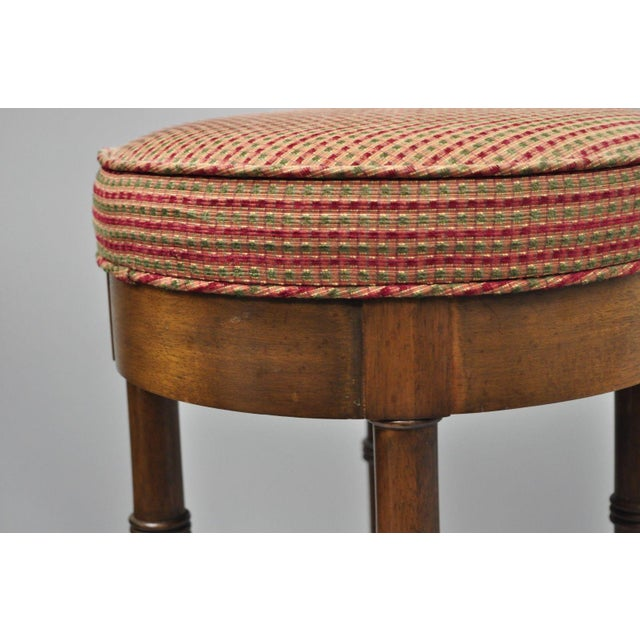 Late 20th Century Vintage Chinese Chippendale Style Mahogany Faux Bamboo Counter Bar Stool For Sale - Image 5 of 11