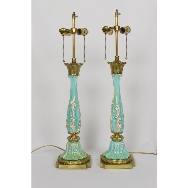Late 19th Century Turquoise Rococo Table Lamps - a Pair For Sale - Image 11 of 11