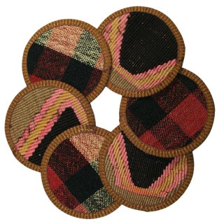 Rug & Relic Kilim Coasters Set of 6 - Paradeniz For Sale