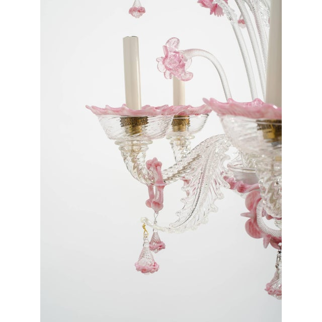 1950s Venetian Pink Six-Arm Chandelier For Sale In New York - Image 6 of 10