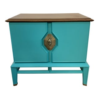Vintage 1960 Turquoise Side Table with Brass Buckle For Sale
