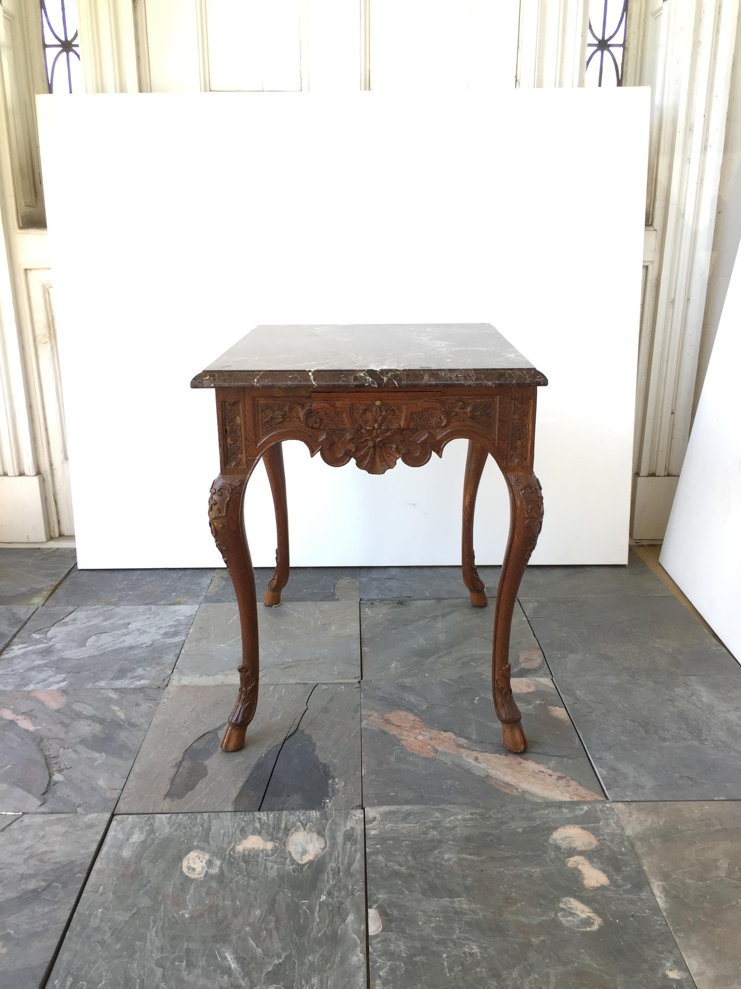 French Regency Style Marble Top Side Table   Image 3 Of 5