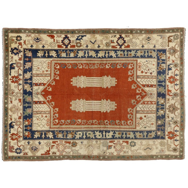 Vintage Turkish Oushak Rug With Mid-Century Modern Style- 5′1″ × 6′11″ For Sale