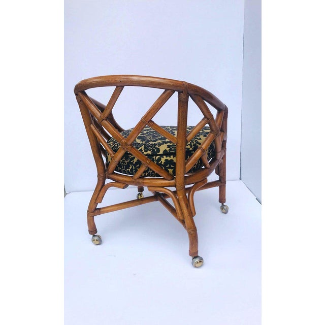 1970's Bamboo and Rattan Chippendale Swivel Desk Chair For Sale In Miami - Image 6 of 13