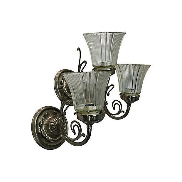White Brass Sconces - Set of 3 - Image 2 of 7