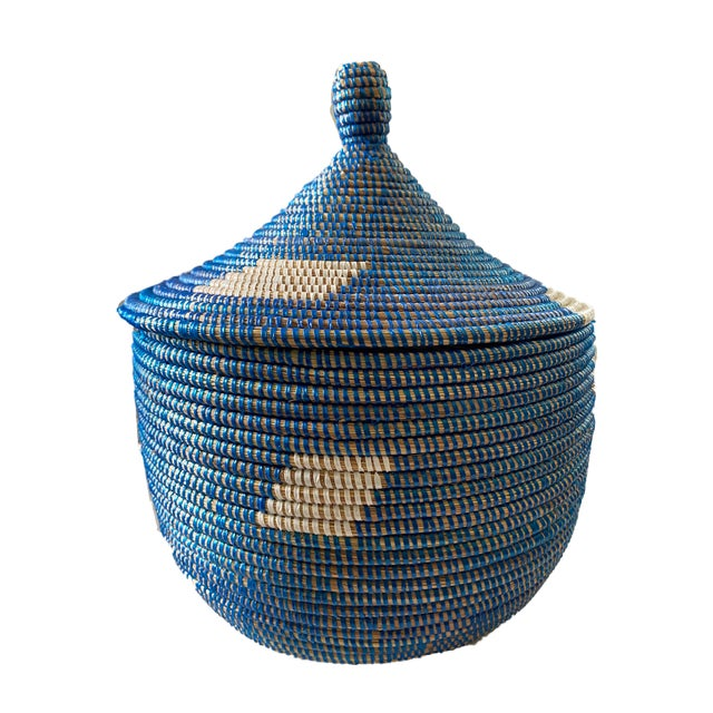 """Colorful Basket W/ Lid Senegal West Africa 15"""" H For Sale In New York - Image 6 of 6"""