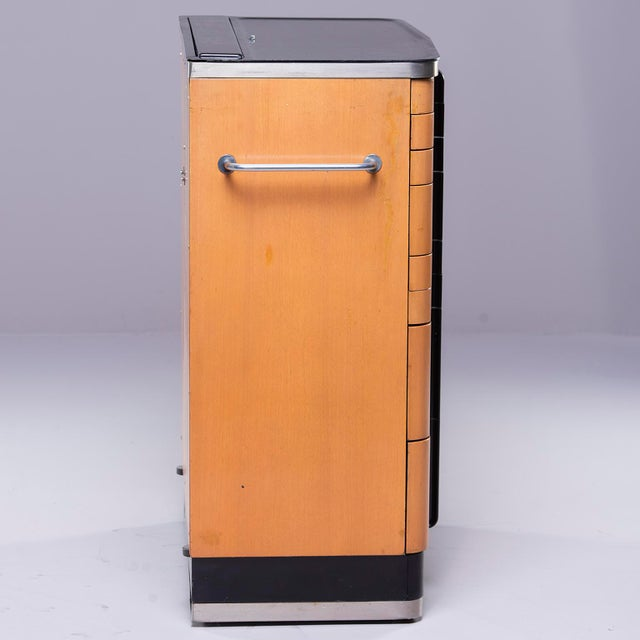 Maple Art Deco Era Medical Cabinet in Maple and Black For Sale - Image 7 of 13