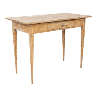 Antique Gustavian Style Writing Desk With Dry Scraped Finish For Sale