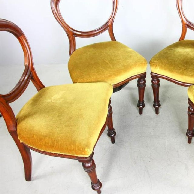1970s Vintage Mahogany Yellow Velvet Louis XVI Victorian Side or Dining Chairs- Set of 4 For Sale - Image 4 of 7