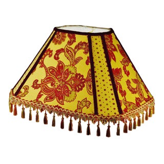 Vintage Jacquard Fringe Tapered Lampshade For Sale