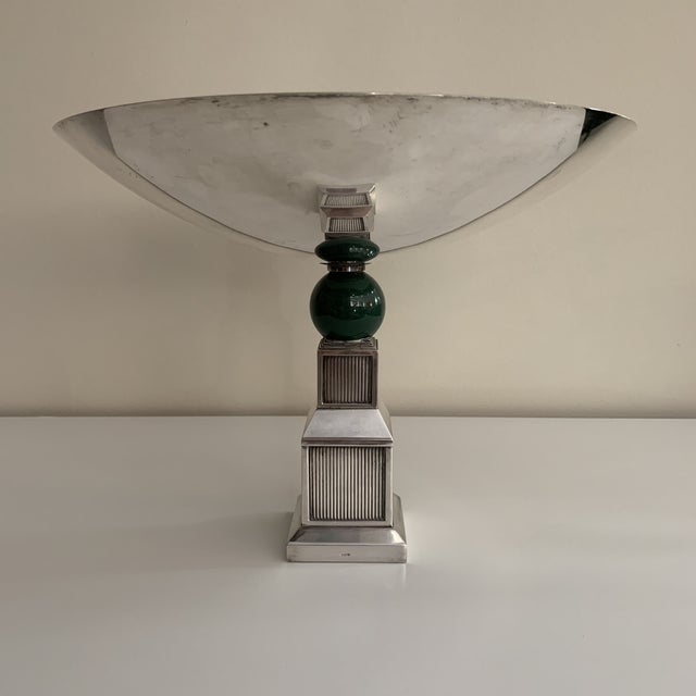 Exclusive and Rare Vintage 1960s GUCCI Silver Table Service Centerpiece Bowl Compote with Resin Accent. Impressed Gucci...