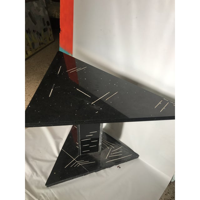 1980s 1980s Postmodern Black Marble Side Table For Sale - Image 5 of 8