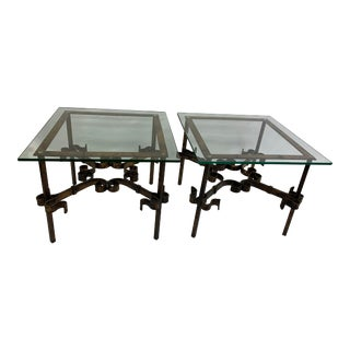 Late 20th Century Iron and Glass Tables-a Pair For Sale
