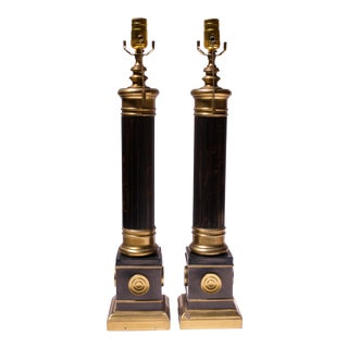 Pair of Neoclassical-Style Tortoise Shell Bakelite and Brass Table Lamps For Sale