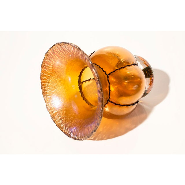 L.C. Tiffany Style Amber Fluted Vase with Wire Wrap - Image 3 of 5