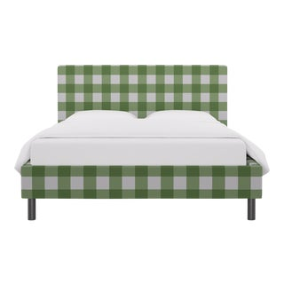 Queen Tailored Platform Bed in Mint Check For Sale