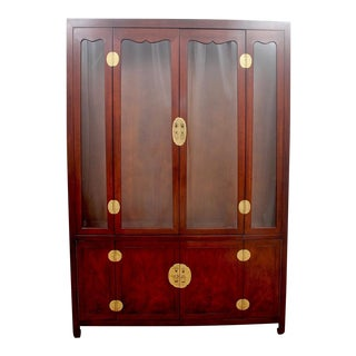 1980s Japanese Henredon Tansu Curio Display Cabinet For Sale