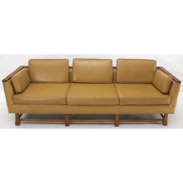Mid-Century Modern Tan Leather Oak Frame Sofa by Ranch Oak For Sale - Image 9 of 13