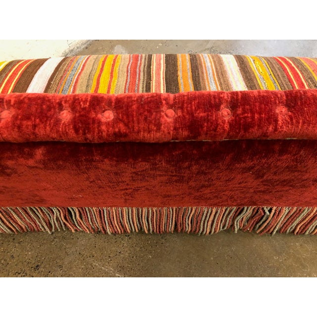Custom Made Sofa in Vintage Flat Woven Kilim For Sale In New York - Image 6 of 11