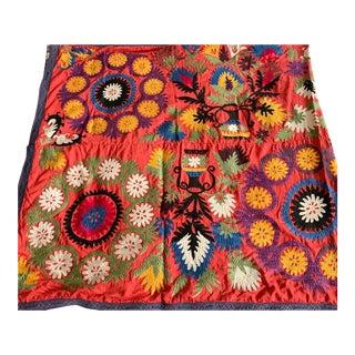 Old Uzbecki Suzani Textile, Throw - 92 X 44 For Sale