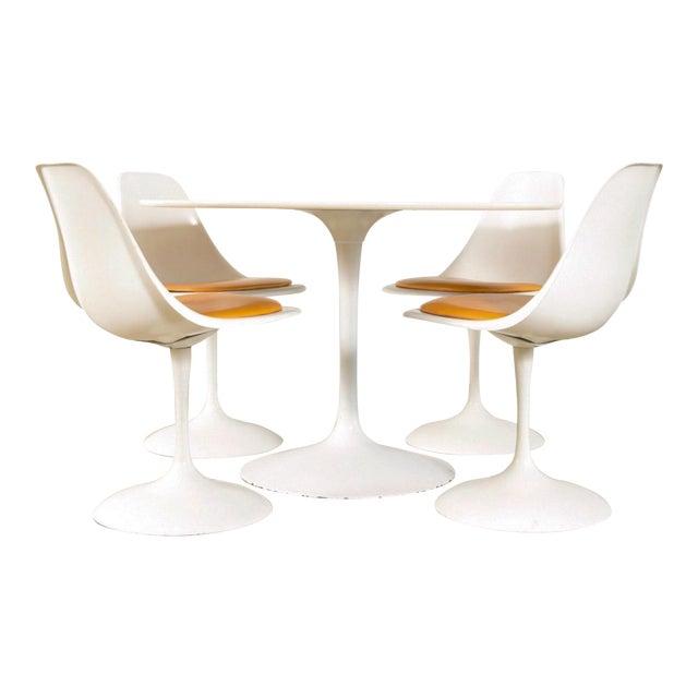 Mid-Century Saarinen Style Tulip Pedestal Dining Set - Set of 5 - Image 1 of 11