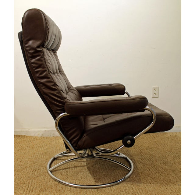 What a find. Offered is a Mid-Century Danish Modern Ekornes Stressless Chrome Lounge Chair/Ottoman. We are selling this...