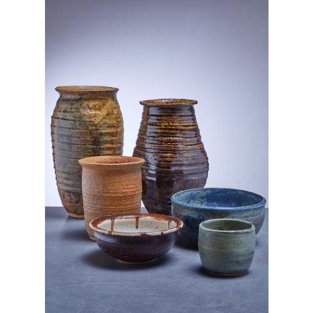 Incredible Gene Caples Collection Of Six Ceramic Bowls And Vases