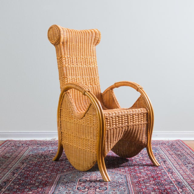 Vintage Wicker & Rattan Chair - Image 2 of 6