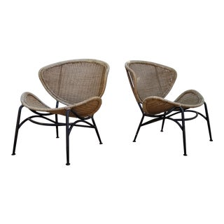 1970s Mid-Century Modern Frederick Weinberg Style Wicker and Metal Chairs - a Pair For Sale