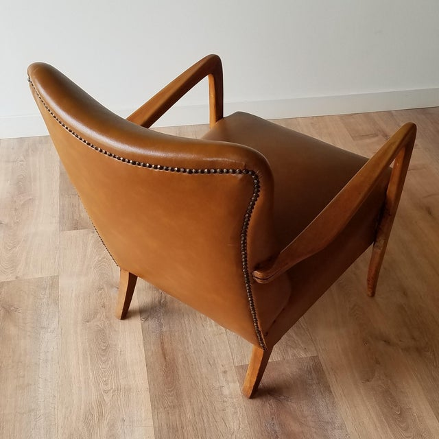 Mid 20th Century Italian Mid-Century Modern Leather Lounge Chairs With Rivets - a Pair For Sale - Image 4 of 13