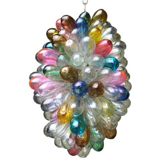 Light Fixture of Stained Colorful Handblown Glass For Sale