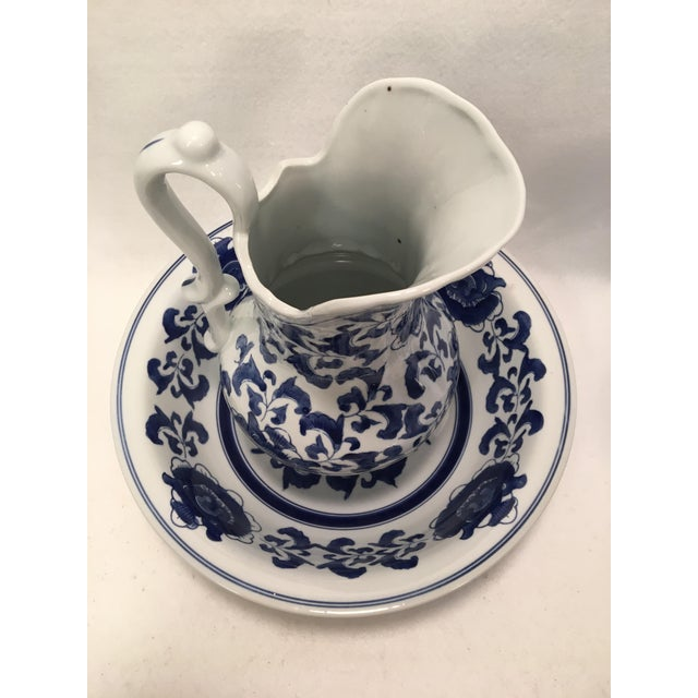 Ceramic Ashley Belle Cobalt Blue & White Floral Design Pitcher and Bowl Set For Sale - Image 7 of 9