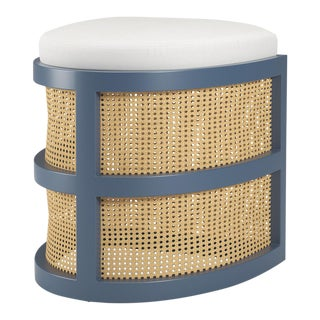Isabella Demi Stool - Newburyport Blue, Optic White Linen For Sale